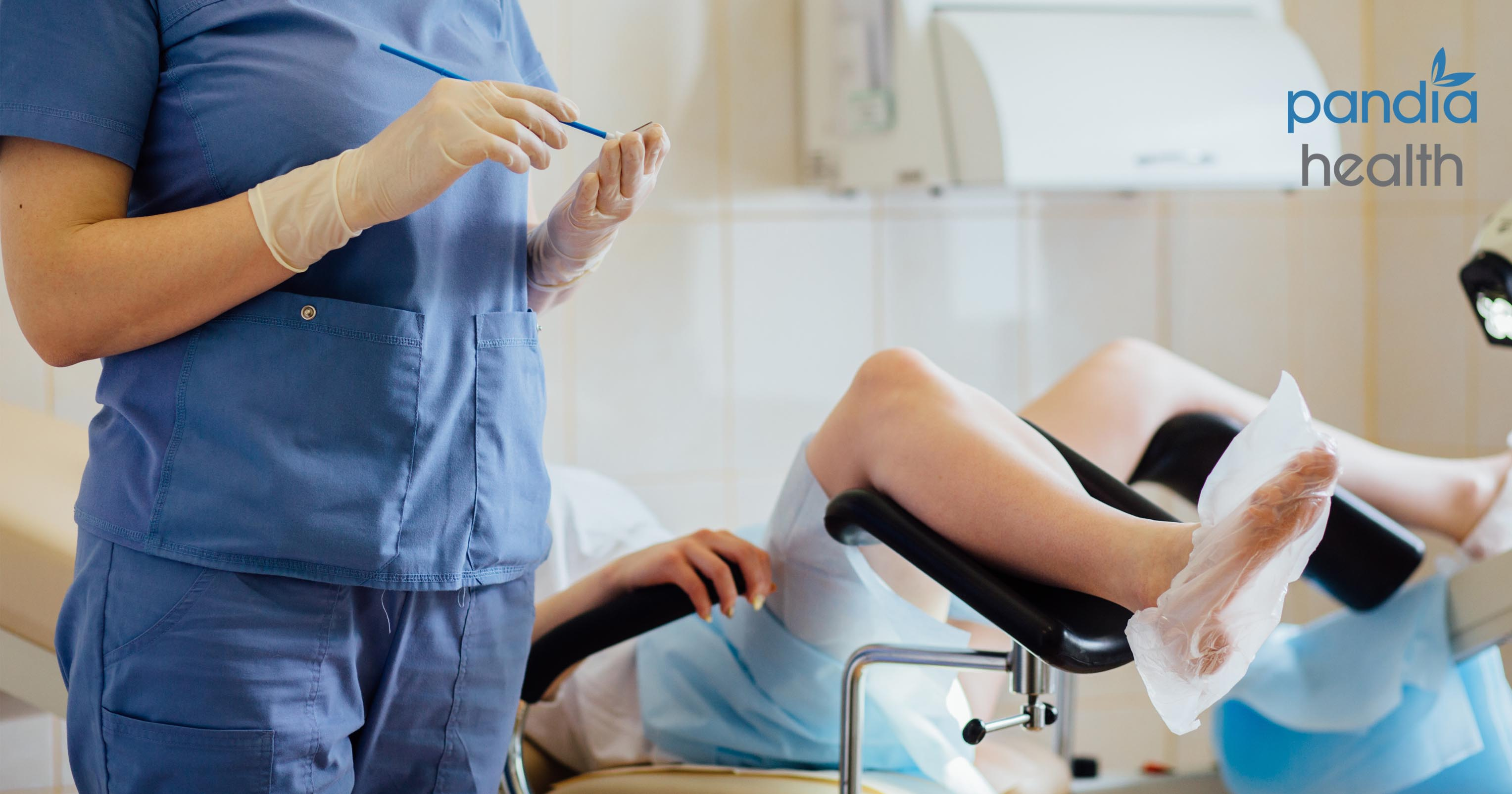 Woman at gynecologist appointment for pap smear