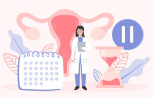 cartoon of a doctor and uterus
