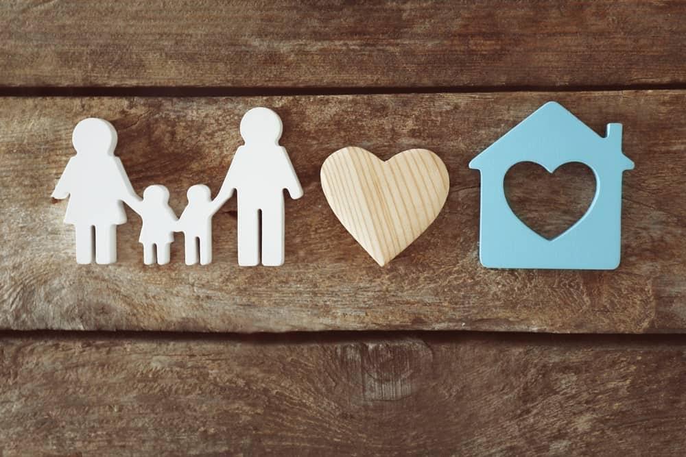 paper family, house, heart cutouts