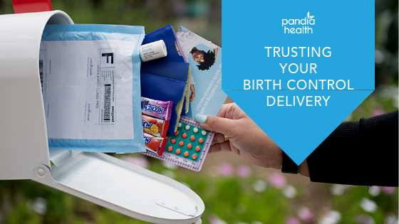 Hand taking out Pandia Health mailer from maibox, showing birth control pills and other goodies included