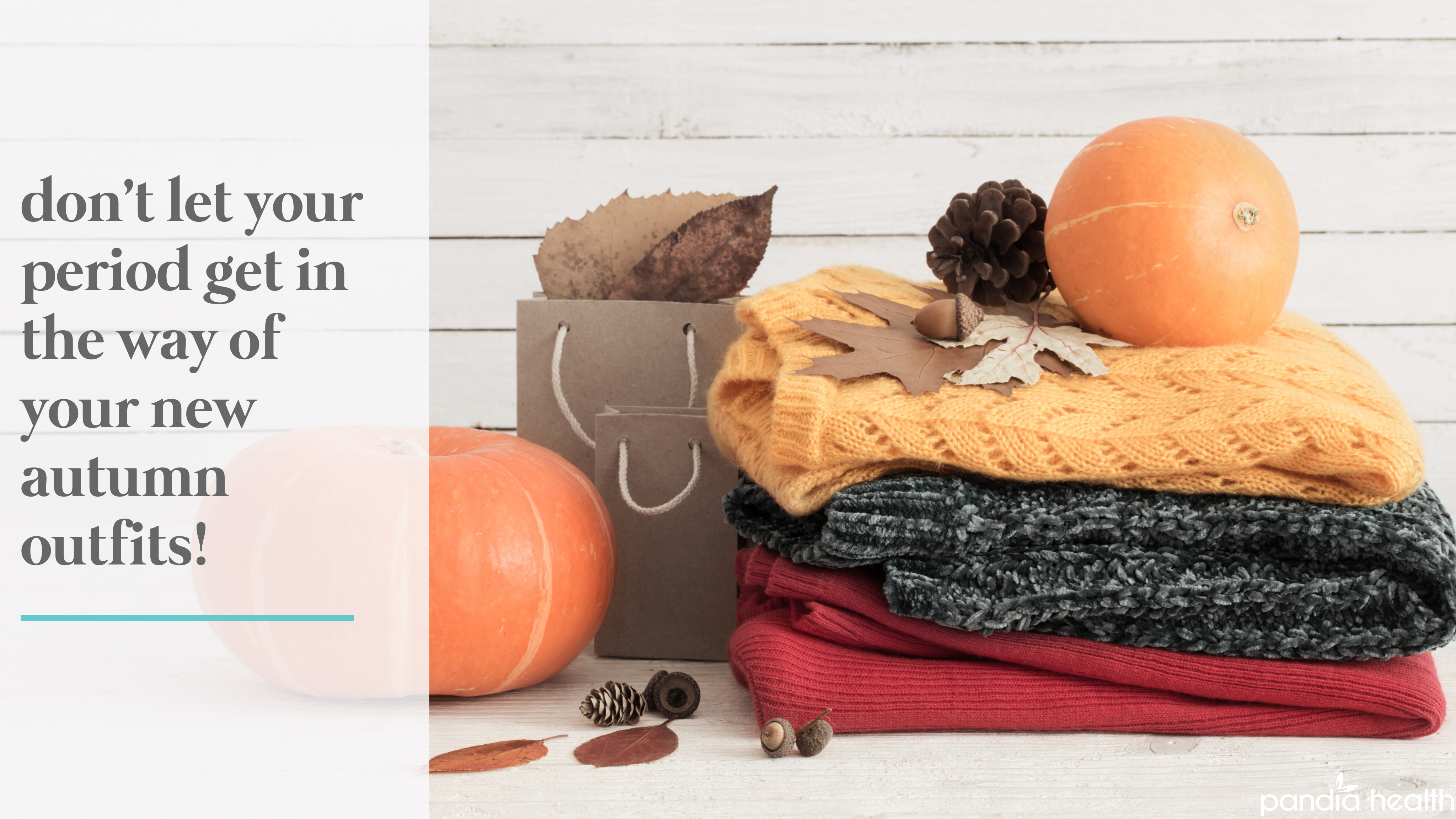 clothes folded, leaves, and pumpkins