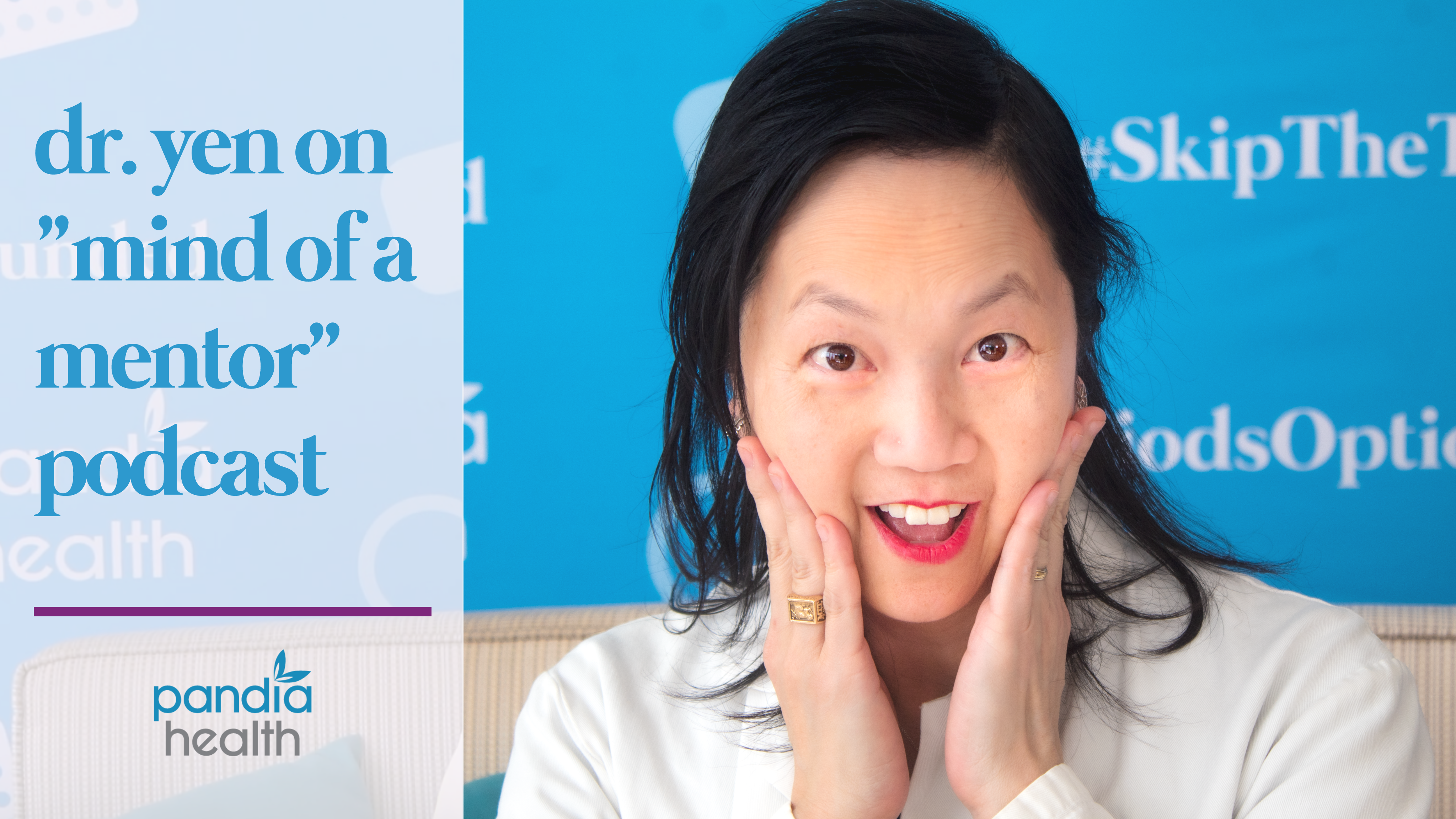 Dr. Sophia Yen smiling in surprise with hands against her cheeks