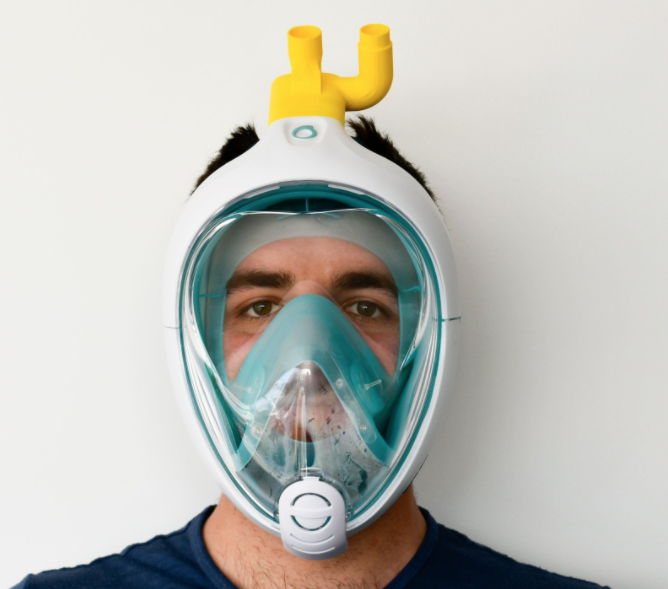 Scuba mask turned into CPAP for COVID19