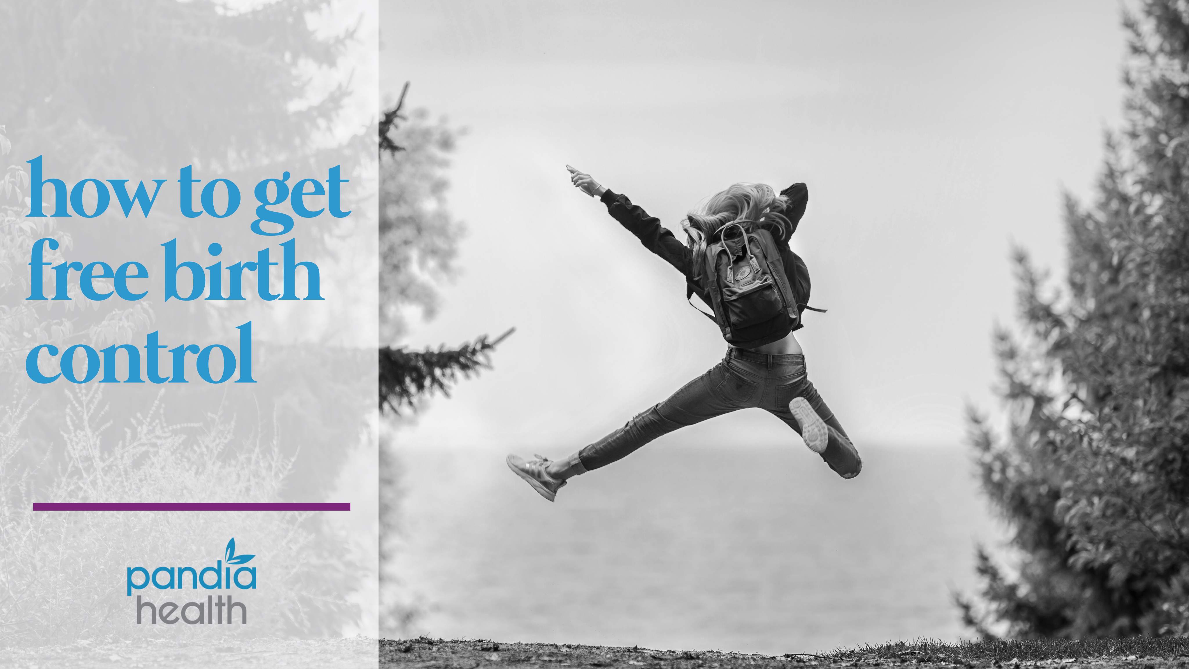 Girl hiking with a backpack on, jumping up in the air. blog header image