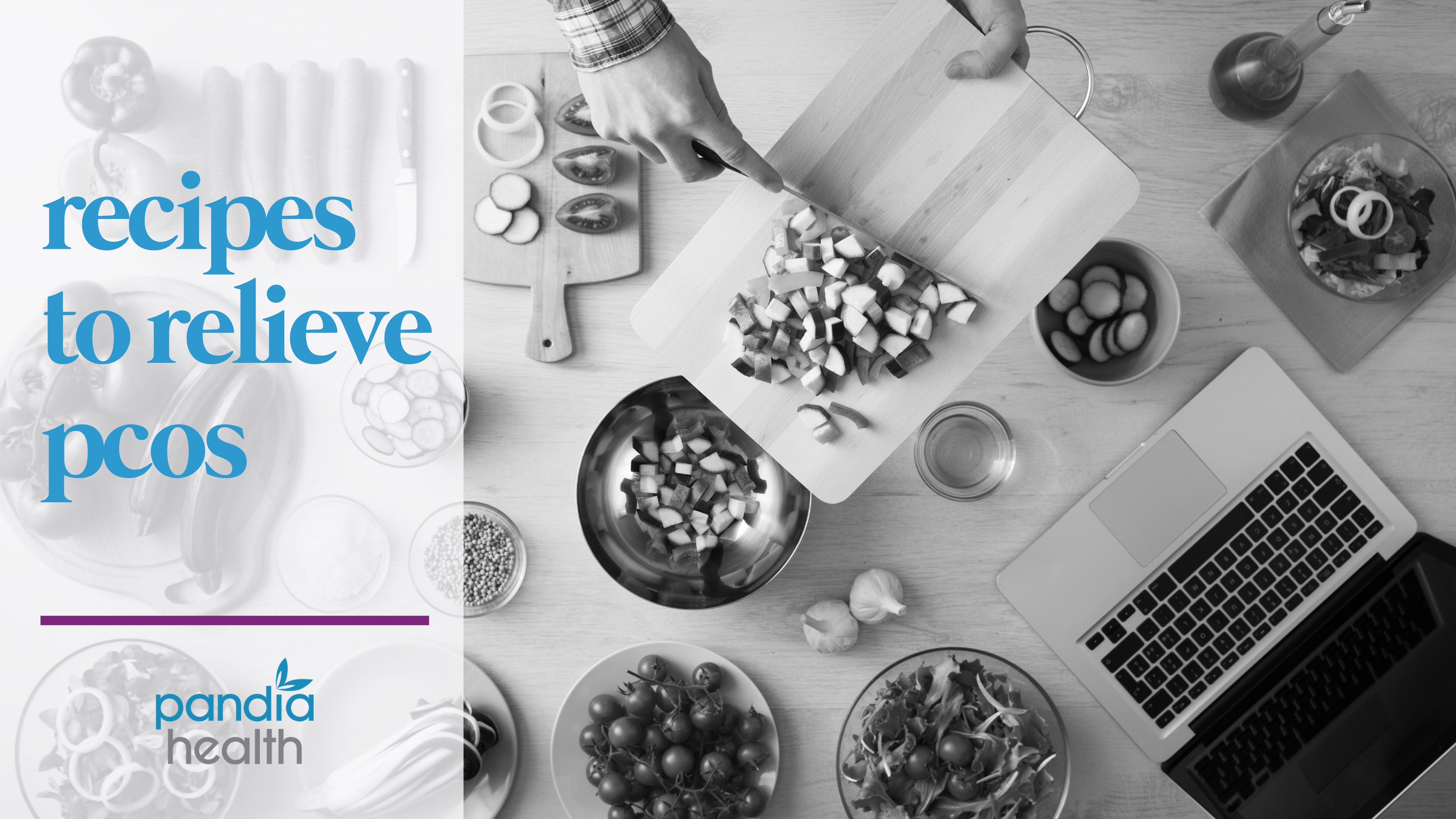 blog header image, birds eye view of cooking. lots of ingredients, someone is chopping. Blog featured image