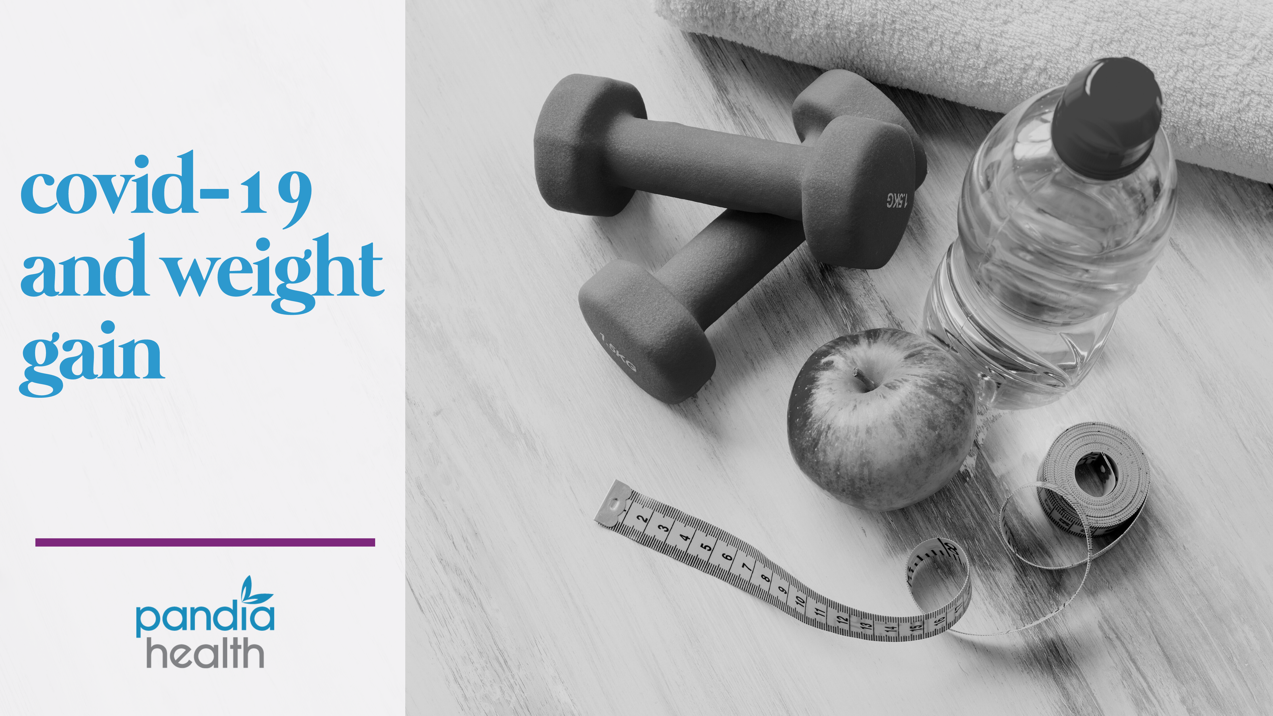 blog header image with weights, apple, water, and measuring tape
