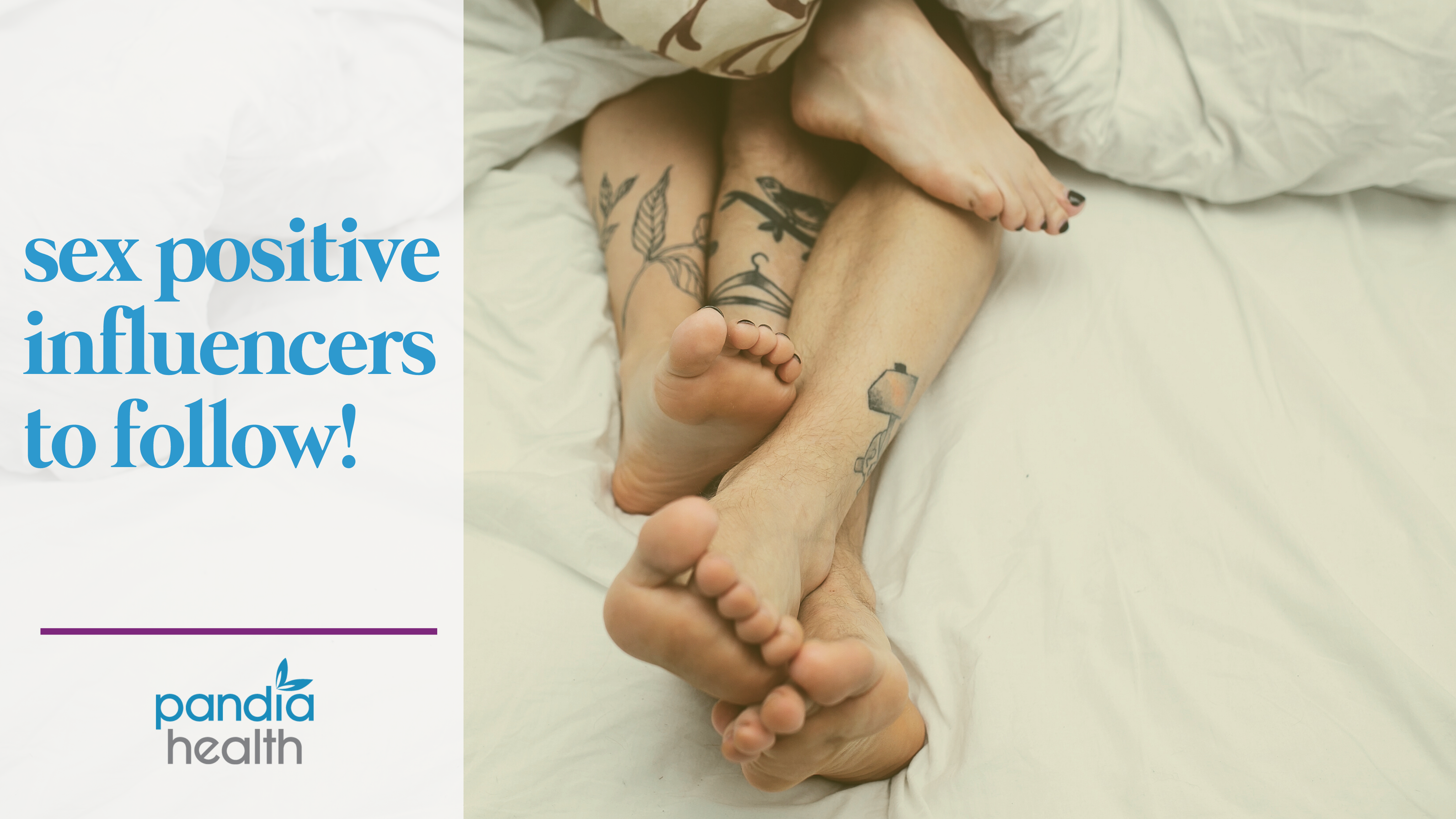 "Header image for ""Sex Positive Influencers to Follow"" - Couple in a bed together"