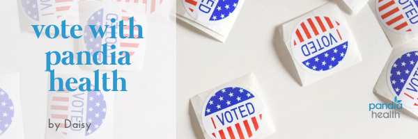 """I Voted"" stickers on a white table"