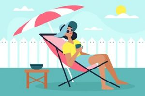 Cartoon Graphic of Woman Relaxing on Vacation